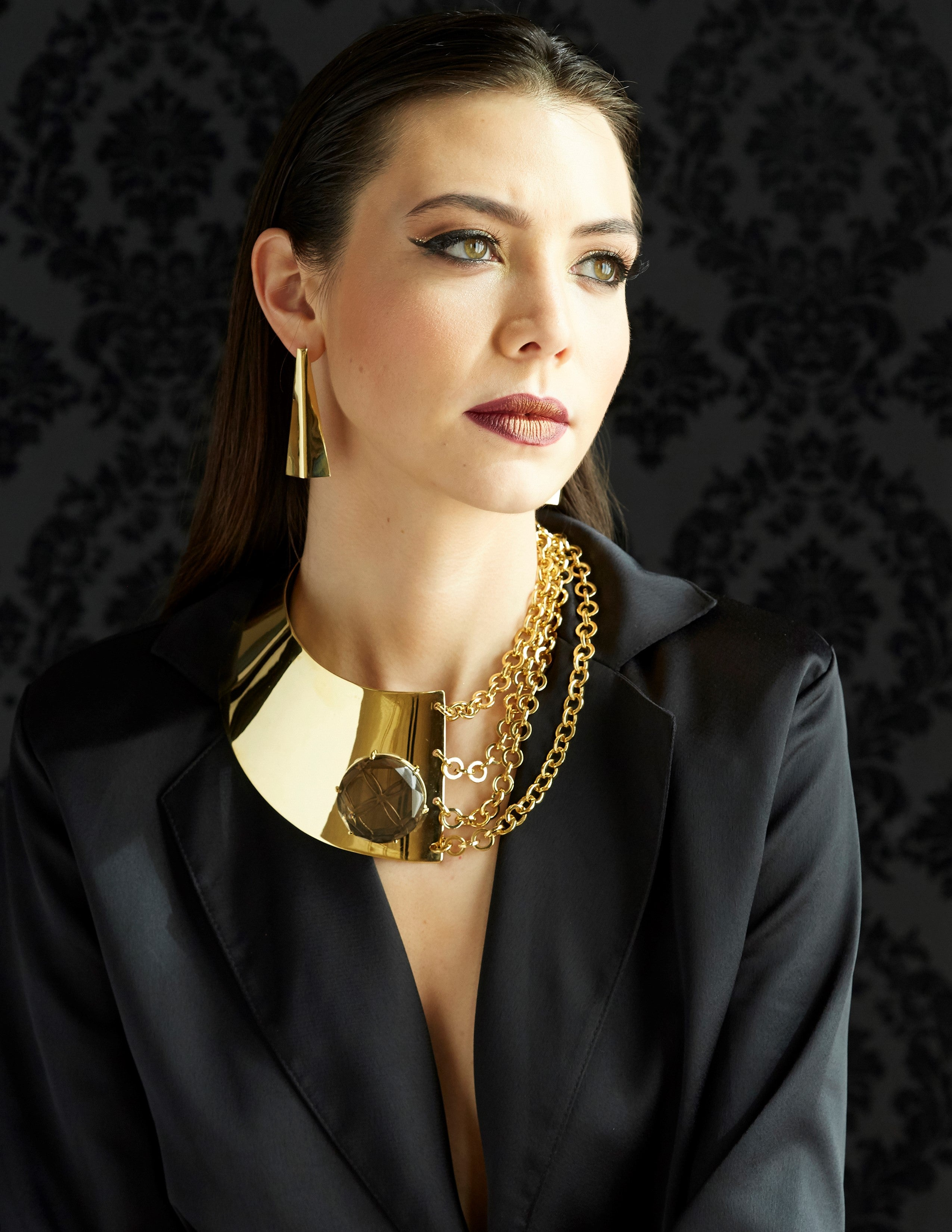 Gold Runway Button Chain Necklace - Georgina Jewelry
