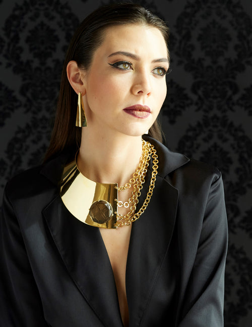 Gold Runway Button Chain Necklace - MCK Brands