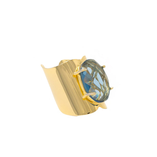 Gold Aquamarine Crystal Ring
