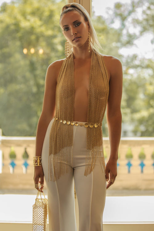 Gold Chain Statement Top