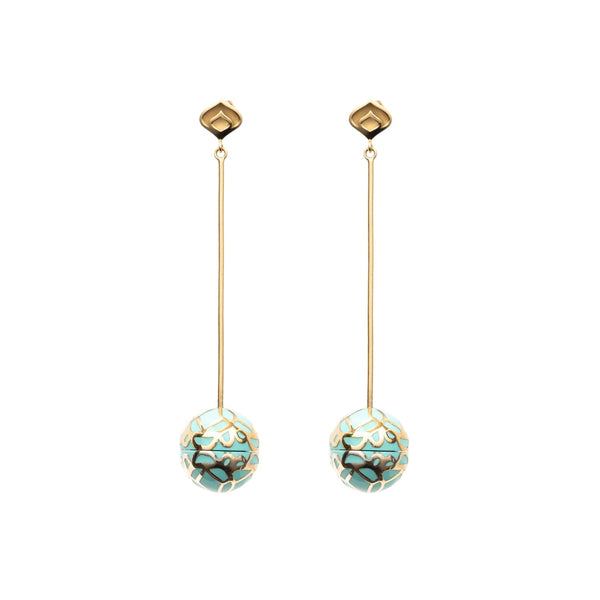 Signature Gold  Sphere Turquoise Resin Long Earrings