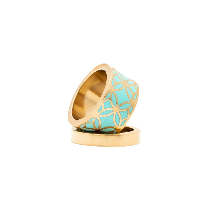 Signature Gold Turquoise Resin Band Ring