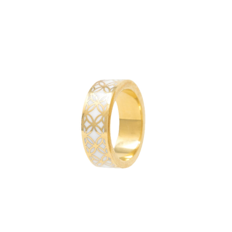 Signature Gold  Mother Pearl Resin Band Ring