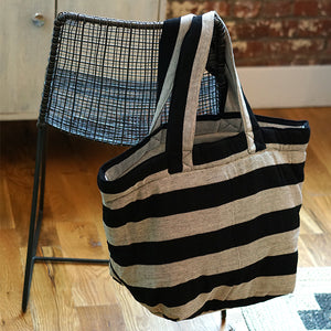 black and white striped canvas tote,