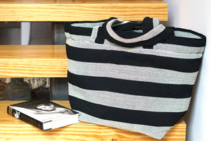 black and white striped tote bag,