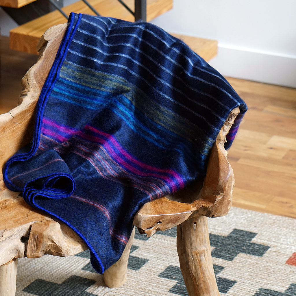 blue striped alpaca throw blanket, blue sofa throw, blue throw blanket, alpaca blanket ecuador,  ecuador blankets for sale,  ecuador blanket,  alpaca wool throw blanket,