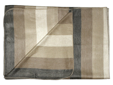 Natural and Tan Stripe Alpaca Wool Throw Blanket