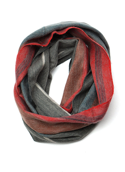Red Gray Stripe Alpaca Infinity Scarf