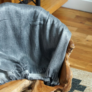 Silver Gray Reversible Alpaca Wool Throw Blanket