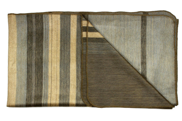 sandstone beige striped alpaca throw