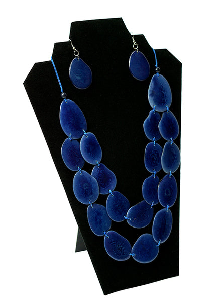 tagua nut jewelry, navy tagua nut necklace, tagua nut earrings, blue tagua necklace
