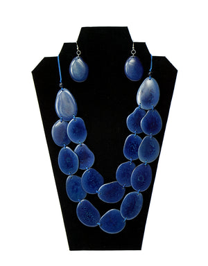 navy tagua nut necklace