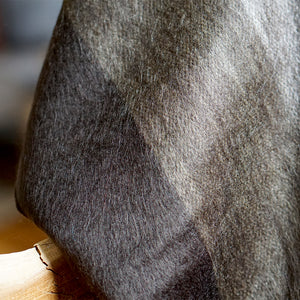 Brown Striped Alpaca Wool Throw Blanket