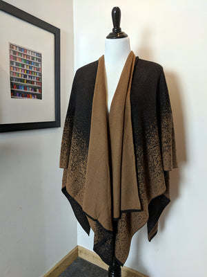 coffee ruana wrap, brown ruana, brown wrap,