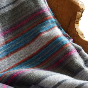 multi color stripe alpaca throw blanket, sofa throw blanket, silver alpaca blanket, blue alpaca blanket