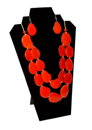 orange tagua necklace, orange ecuador necklace