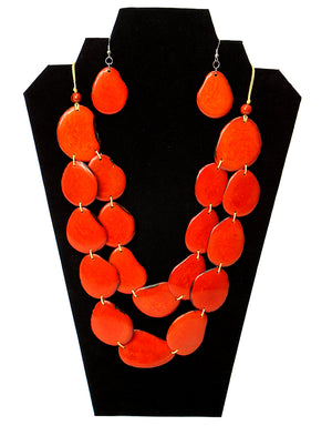Tagua Nut Necklace - Vermilion Orange