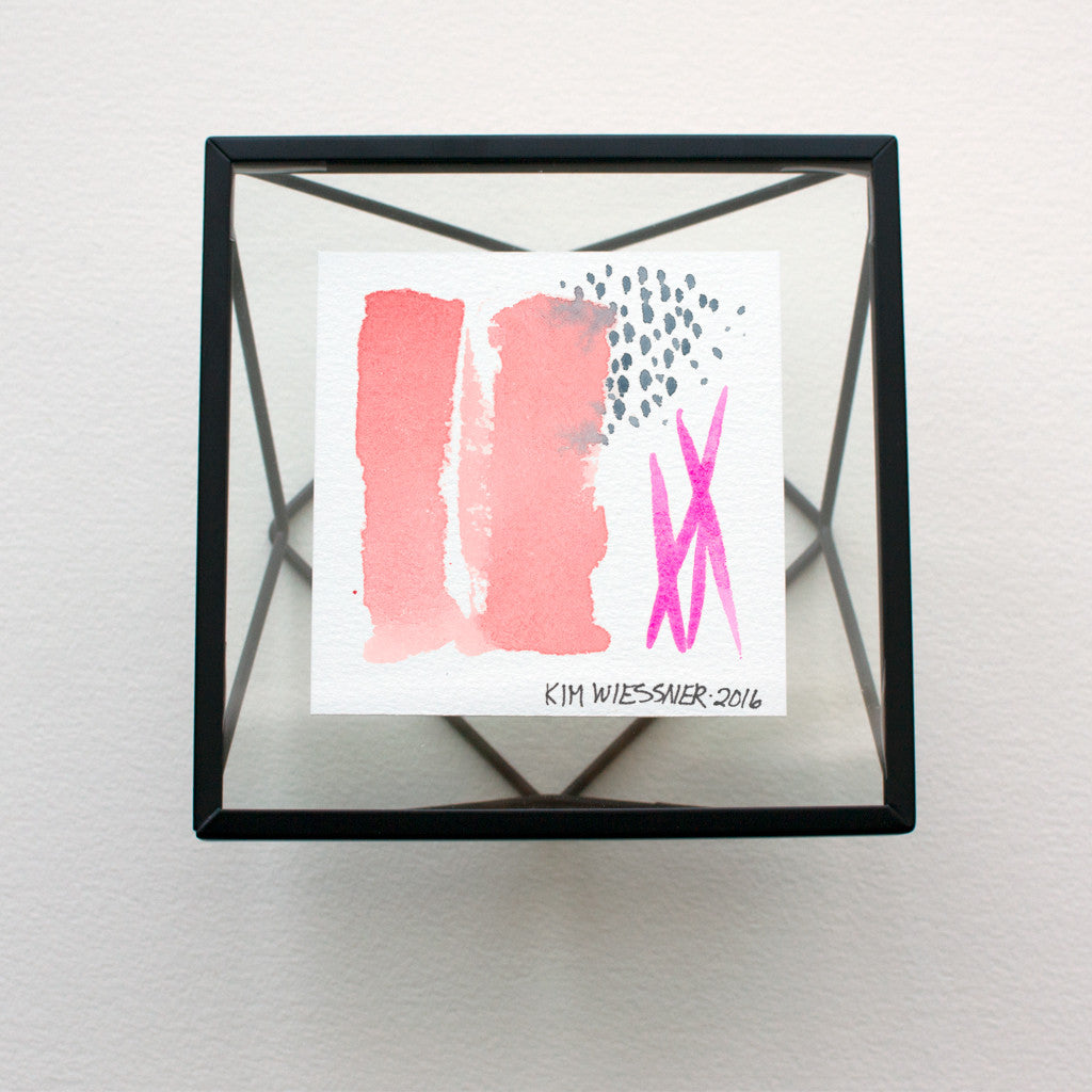 Abstract Tiny Watercolor in Opera Rose, Payne's Gray and Rose Doré.