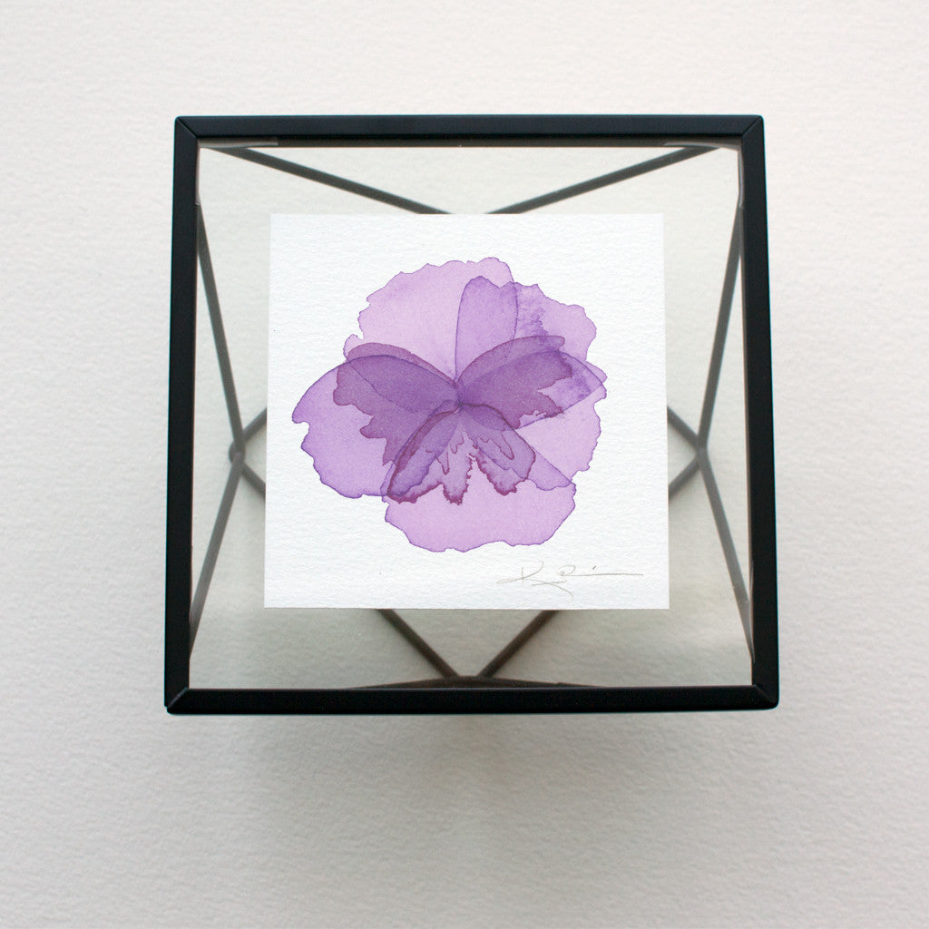 Tiny Watercolor Abstract Pansy in Winsor Violet