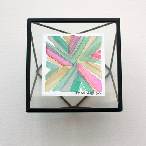 Abstract Tiny Watercolor featuring overlaps of Pinks, Greens and Yellows