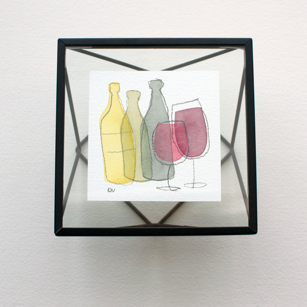Tiny Watercolor featuring 3 wine bottle and 2 wine glass forms overlapping