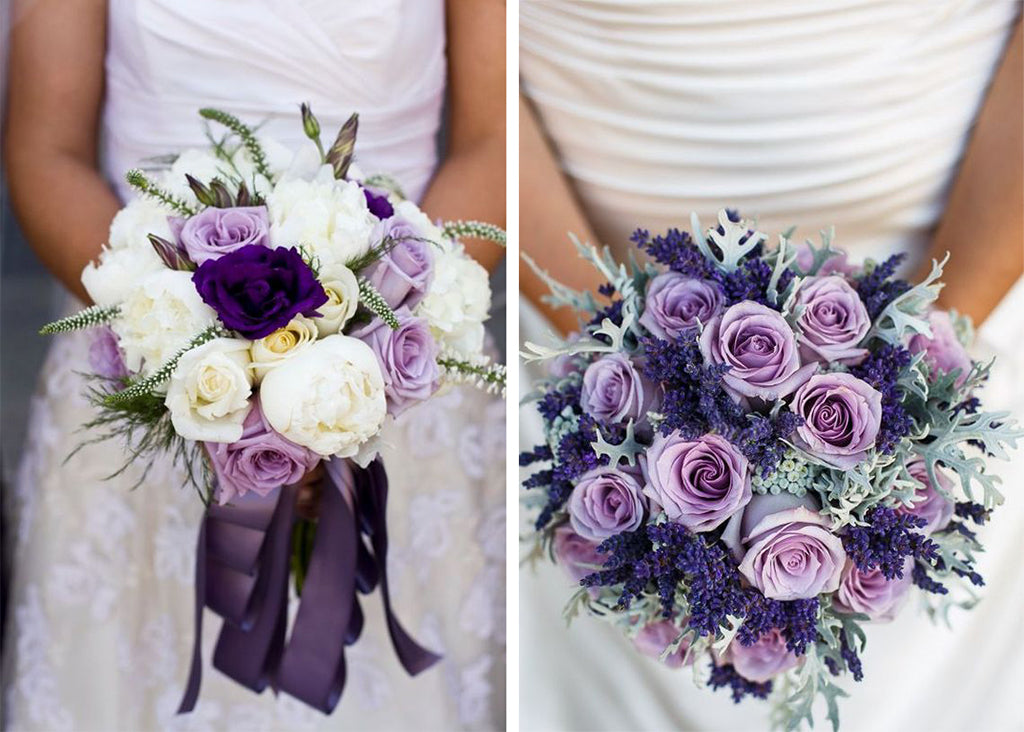 Examples of ultra violet bouquets. Two brides holding purple and silver bouquets