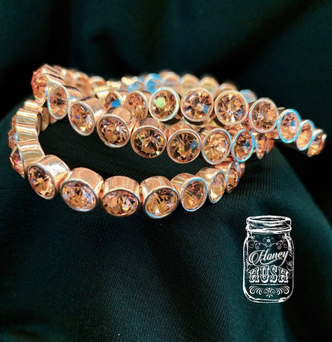 Rose Gold Bling Stretch Bracelet.