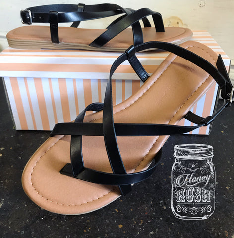 Ponny Black Strappy Sandals