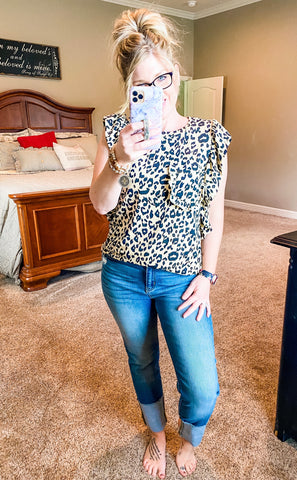 Leopard Sleeveless Top w/Ruffle Detail