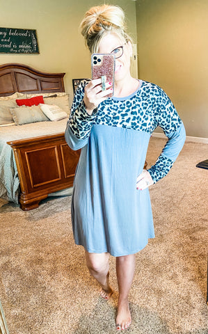 Grey and Leopard Dress