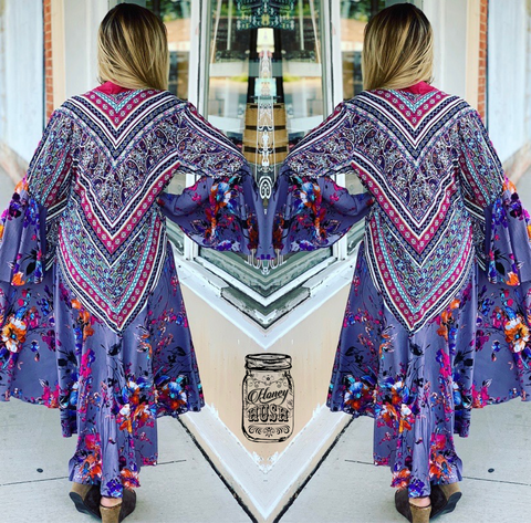 Umgee Floral/Paisley Duster w/Bell Sleeves
