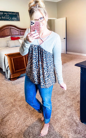 Taupe/Leopard Top w/Criss Cross Detail