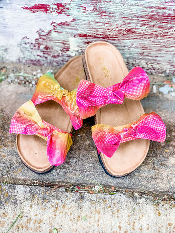 Double Rainbow Bow Sandals