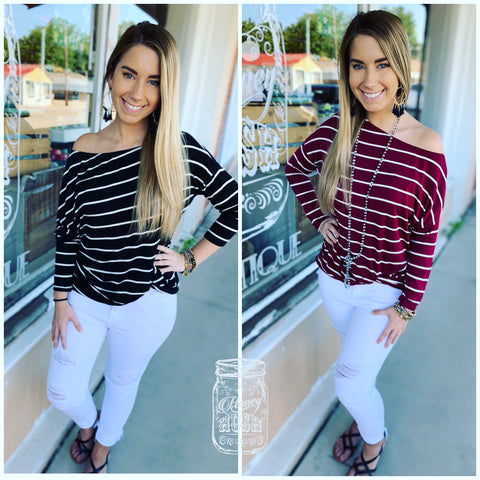 Striped Off Shoulder Knot Top