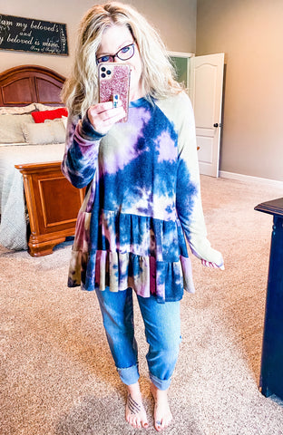 Tie Dye Ruffle Sweater Top