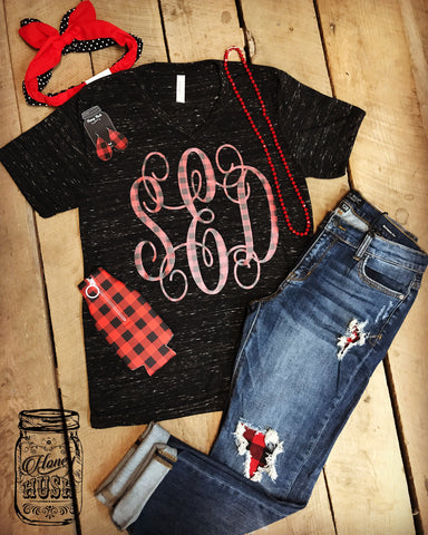 Custom Buffalo Plaid Monogram Tee