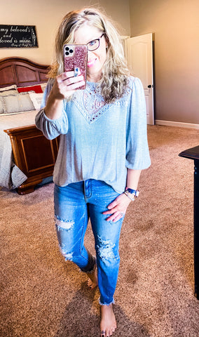 Grey Knit 3/4 Sleeve Top w/Crochet Detail
