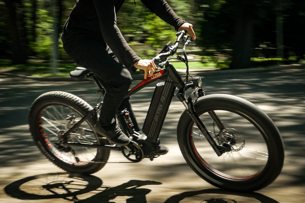 Riding a Juggernaut eBike with full suspension.