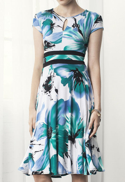 Teal Floral Print Adèle Dress - Héricher