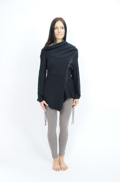 Eco Asymmetrical Cowl Zip Jacket - Gabe Ruth