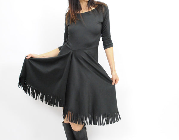 Fringed Hem Dress - Lococina for Voguemobile