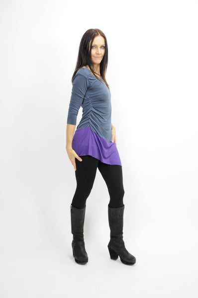 Purple and Grey Asymmetrical Top - Lococina for Voguemobile