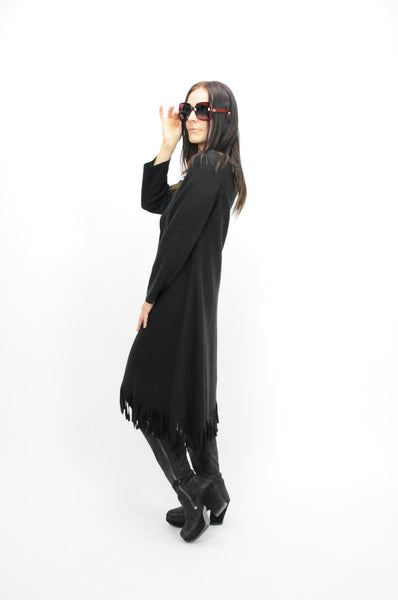 Transition Black Fringed Coat - Lococina for Voguemobile
