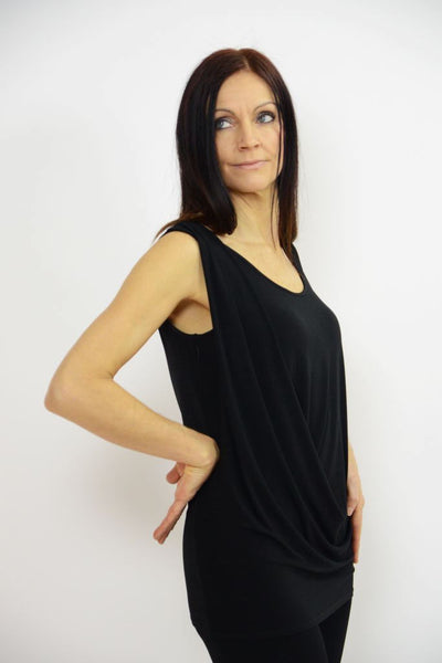 Shoulder Drape Black Top - Eva Varro