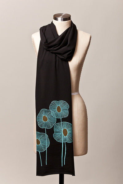 Pineapple Flowers Scarf in Black - Flytrap