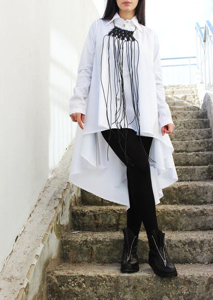 Extravagant Long White Blouse - FRKT