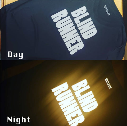 RUSEEN Reflective Apparel - Day & Night Comparison - Reflective Shirt - Blind Runner