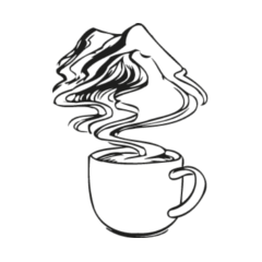 Coffee design, a big mug with detailed steam in the shape of mountains