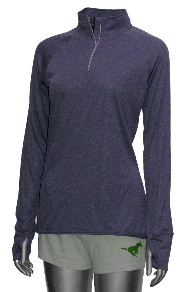 Women's Reflective Long Sleeve Quarter Zip Shirt - Choose your design Purple
