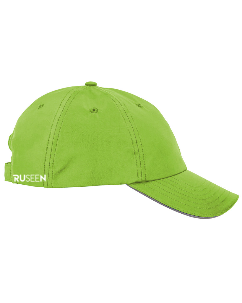 Reflective Running Hat - Lime Green - Side
